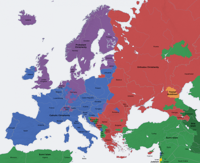 Revealing Maps Of Religion In Europe ChurchPOP - Religion map of world 2014