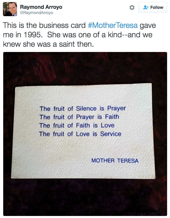 St mother teresa had quite a unique business card churchpop raymondarroyo twitter colourmoves