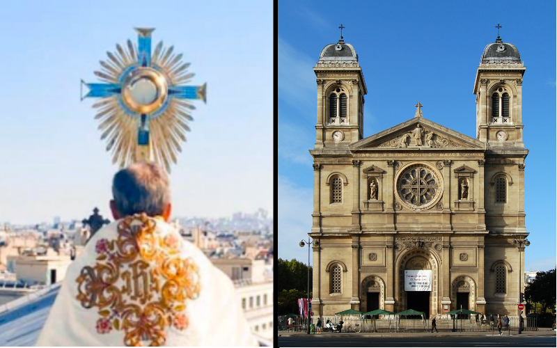 French Priest Blesses Paris on Church Rooftop with Eucharist in Stunning Photos |